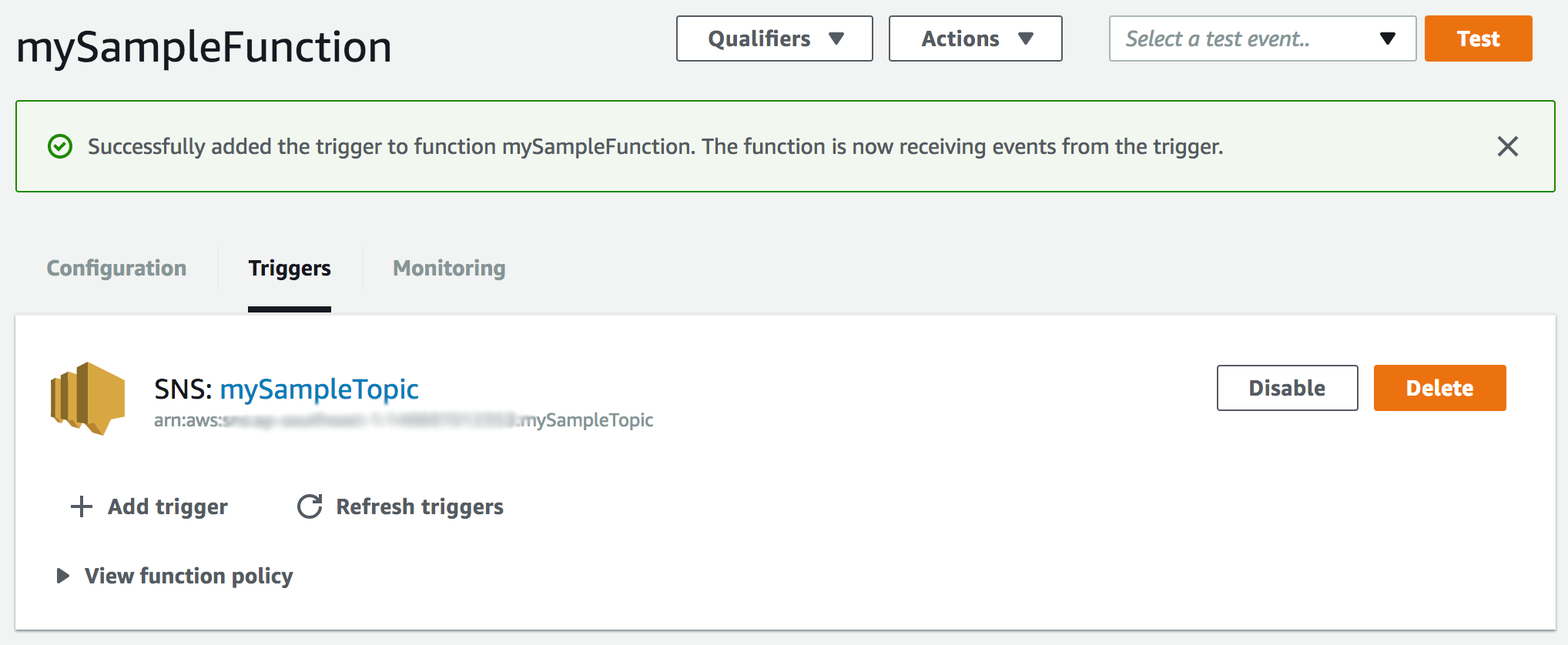 New trigger successfully added for AWS Lambda function acknowledgement